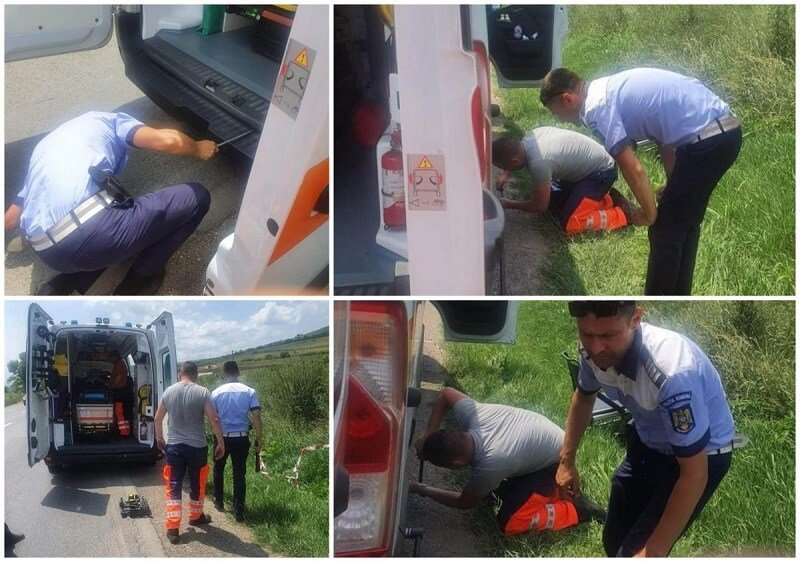 Defektet kapott egy súlyos beteget szállító mentő, rendőrök cserélték ki a kerekét