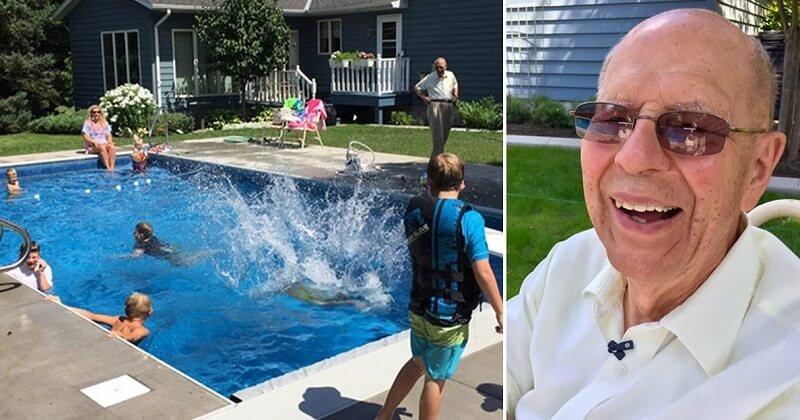 A 94 éves özvegy férfi medencét épített a kertjében a szomszéd gyerekeknek