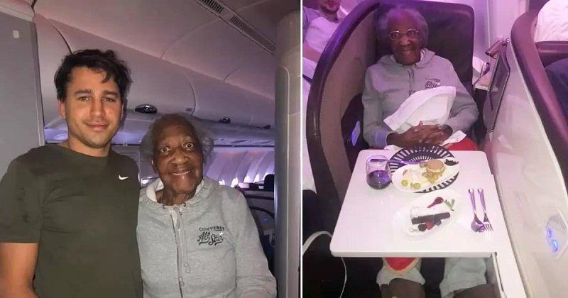 Egy kedves idegen valóra váltotta egy 88 éves nő álmát: átadta a repülőn az első osztályú helyét!